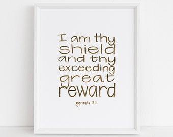 I Am Thy Shield - Genesis 15:1 - Watercolor Scripture Wall Art