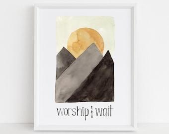 Worship and Wait - Sunrise Mountain Scene - Giclee Wall Art Print - Encouraging Gifts