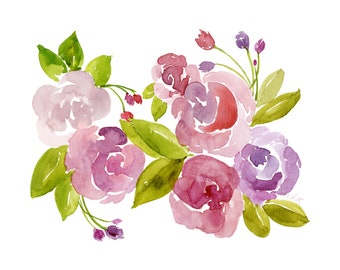 Spring Flowers - Giclee Watercolor - Archival Print