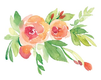Peachy Floral Watercolor - Giclee Print - Wall Decor