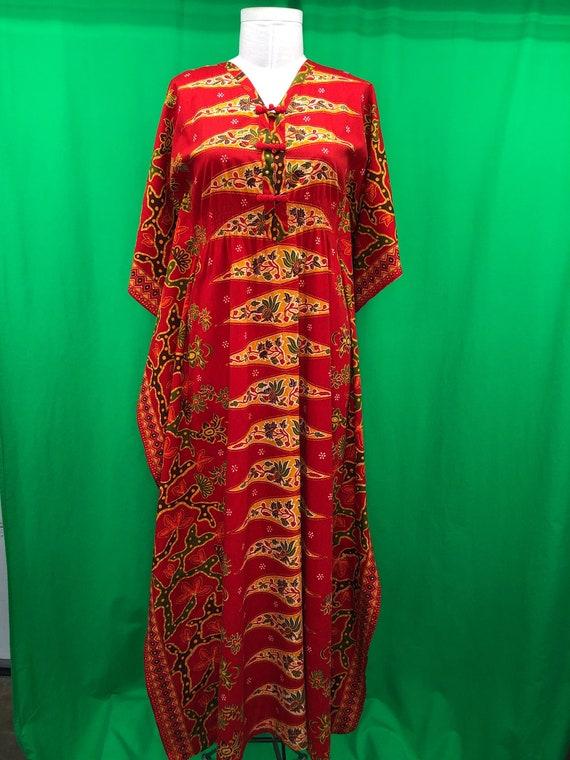 Vintage 70s M Casides Muu Muu Hostess Gown Red Yel