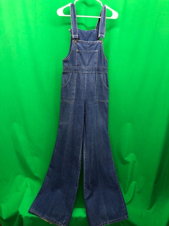 Vintage 70s Gap 12 Blue Denim Bell Bottom Bibbed O