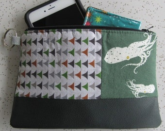 SALE !! Vegan Leather Clutch - Charley Harper Octopus Leather Clutch - Octopus Gift - Ocean Creatures