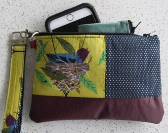 Key Fob Wristlet  - Burgundy Vegan Leather Clutch -Chartuese Bird Clutch - Charley Harper Gift