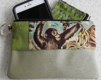Vegan Leather Clutch - Monkey Zipper Clutch - MonkeytGift