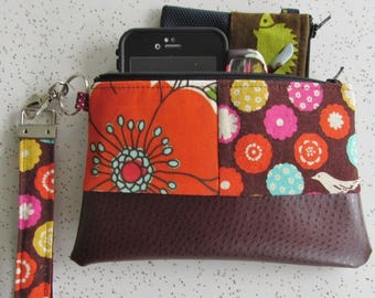 Key Fob Wristlet - Echino Bird Clutch - Vegan Leather Bag