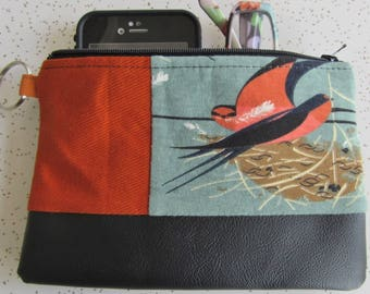 Vegan Leather Clutch - Charley Harper Orange Birds Clutch - Charley Harper Gift