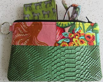 Vegan Leather Clutch - Green Octopus Leather Clutch - Octopus Gift - Ocean Creatures