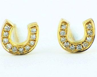 0.06ct Micro Pavé Round Diamonds HORSESHOE 14K Yellow Gold Stud Earrings - 5.5mm