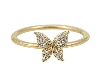 0.10tcw Diamonds in 14K Yellow Gold Butterfly Trendy Ring