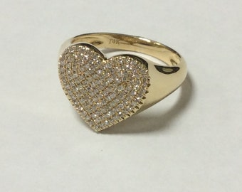 0.43 Carat Diamond 14k Yellow Gold Heart Ring