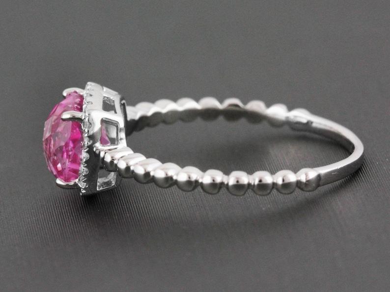 1.67ct Pink Topaz /& Diamonds 14K White Gold Solitaire Birthstone Halo Ring CUSTOM MADE
