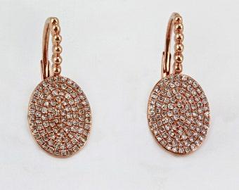 0.42ct Micro Pavé Round Diamonds in 14K Rose Gold Oval Dangle Earrings  - CUSTOM MADE