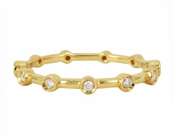 0.08ct Round Diamonds in 14K Yellow Gold Skinny Scattered Bezel Skinny Stackable Band Ring