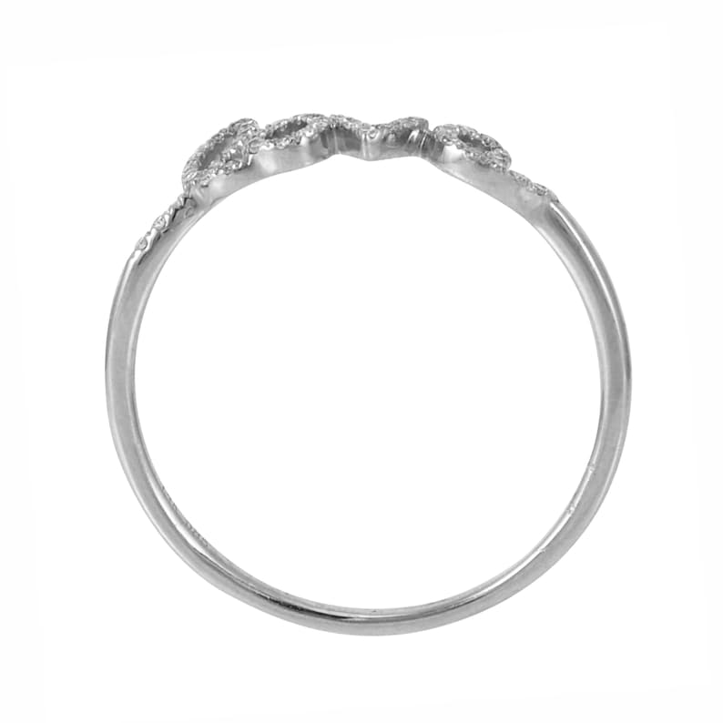 0.10ct Round Diamonds in 14K White Gold Scribed Word LOVE Statement Stackable Ring