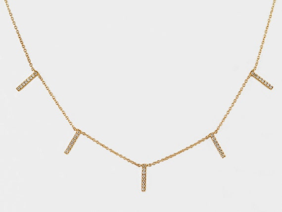 0fe6a32cceb28 14K Yellow Gold Scattered Bars with 0.23ct Pavé Diamonds Dangle Necklace-  CUSTOM MADE