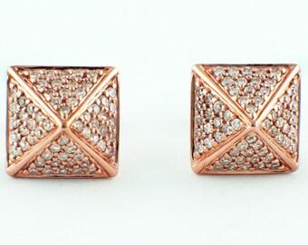 0.32ct Micro Pavé Round Diamonds 14K Rose Gold Square Pyramid Stud Earrings - CUSTOM ORDER