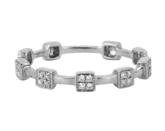 0.07ct Round Diamonds in 14K White Gold Skinny Square Skinny Stackable Band Ring