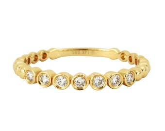 0.13ct Bezel Set Round Diamonds in 14K Yellow Gold Skinny Stackable Band Ring