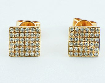0.21ct Micro Pavé Round Diamond in 14K Yellow Gold Square Stud Earrings - 6.3mm - CUSTOM MADE