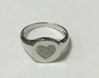 0.11 Carat Diamond Pave 14K White Gold Heart Ring