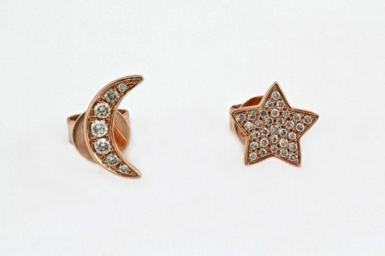 6500506afb99e 0.12ct Micro Pavé Diamond 14K Rose Gold Mini Crescent Moon & Star Stud  Earrings - CUSTOM MADE