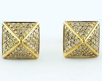 0.32ct Micro Pavé Round Diamonds 14K Yellow Gold Square Pyramid Stud Earrings