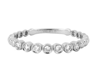 0.13ct Bezel Set Round Diamonds in 14K White Gold Skinny Stackable Band Ring