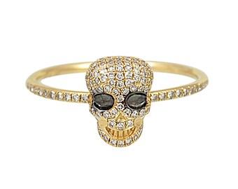 0.26tcw Diamonds in 14K Yellow Gold Skull Statement Womens Ring