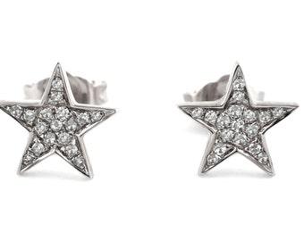 0.08ct Micro Pavé Round Diamonds in 14K White Gold Star Stud Earrings - 8mm
