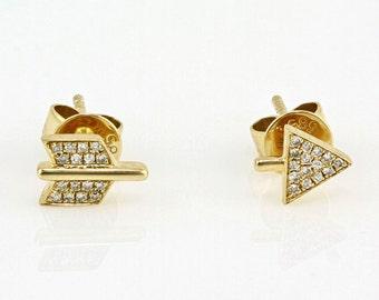 0.06ct Micro Pavé Round Diamonds in 14K Yellow Gold Broken Arrow Stud Earrings - CUSTOM MADE