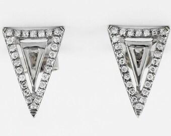 0.16ct Micro Pavé Round Diamonds 14K Whitre Gold Triangle Chevron Spike Earring