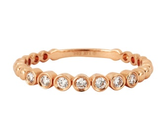 0.13ct Bezel Set Round Diamonds in 14K Rose Gold Skinny Stackable Band Ring