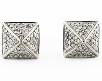 0.32ct Micro Pavé Round Diamonds 14K White Gold Square Pyramid Stud Earrings