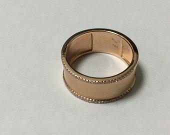 0.13 Carat Diamond 8 mm 14k Rose Gold Ring