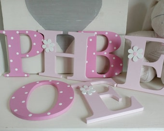 10cm wooden letters. Childs bedroom, nursery, playroom, personalised toy box, wall, door, names, sign.