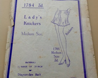 Rare 1930's/ 40's Pattern for Lady's French Knickers. ORIGINAL not a copy