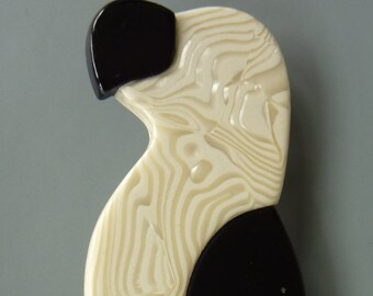"Lea Stein ""black white parrot"" vintage brooch"