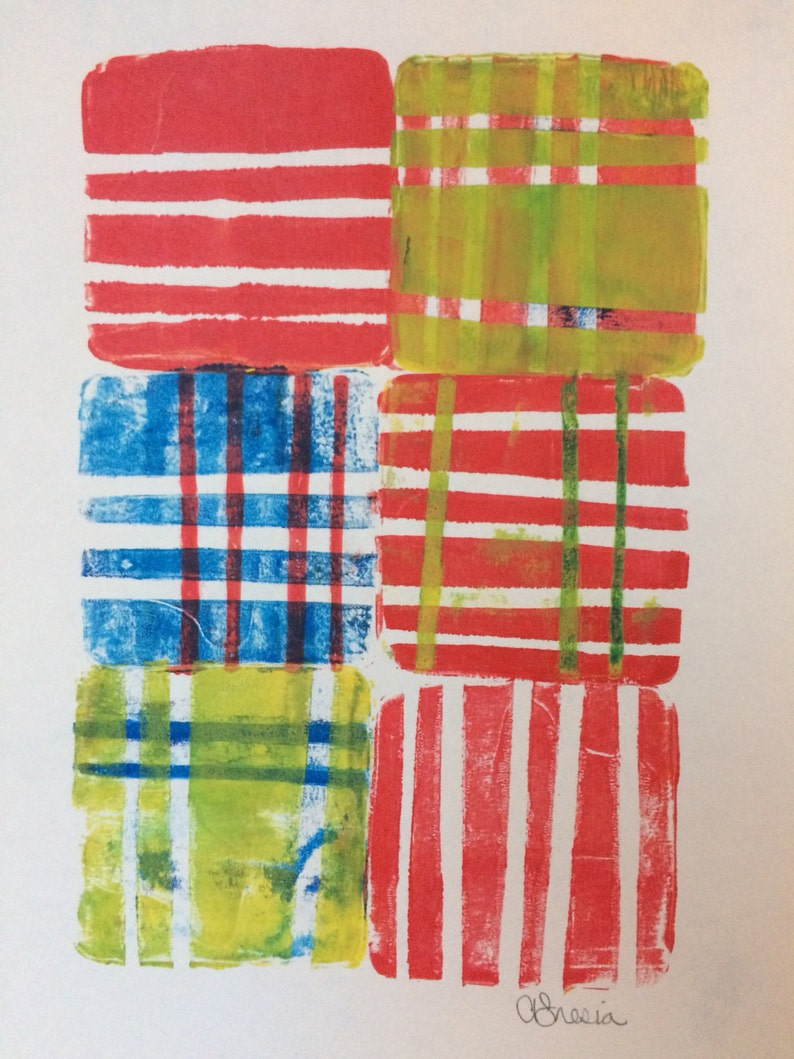 Red and White Stripey Gelli Print Size 6 x 9