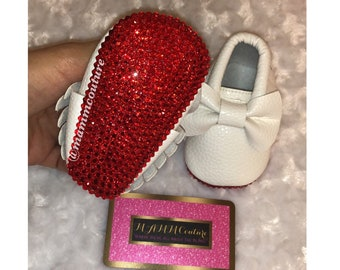 bc3d349c6a0 Baby red bottom bling shoes