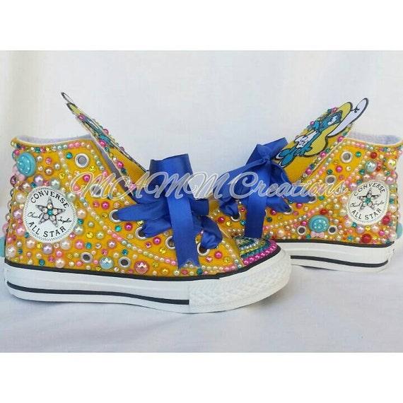 Smurf shoes, Birthday Shoes, Smurf birthday, Custom Converse, Kids Converse, Bling Chucks, Bling Converse, Custom Chucks,
