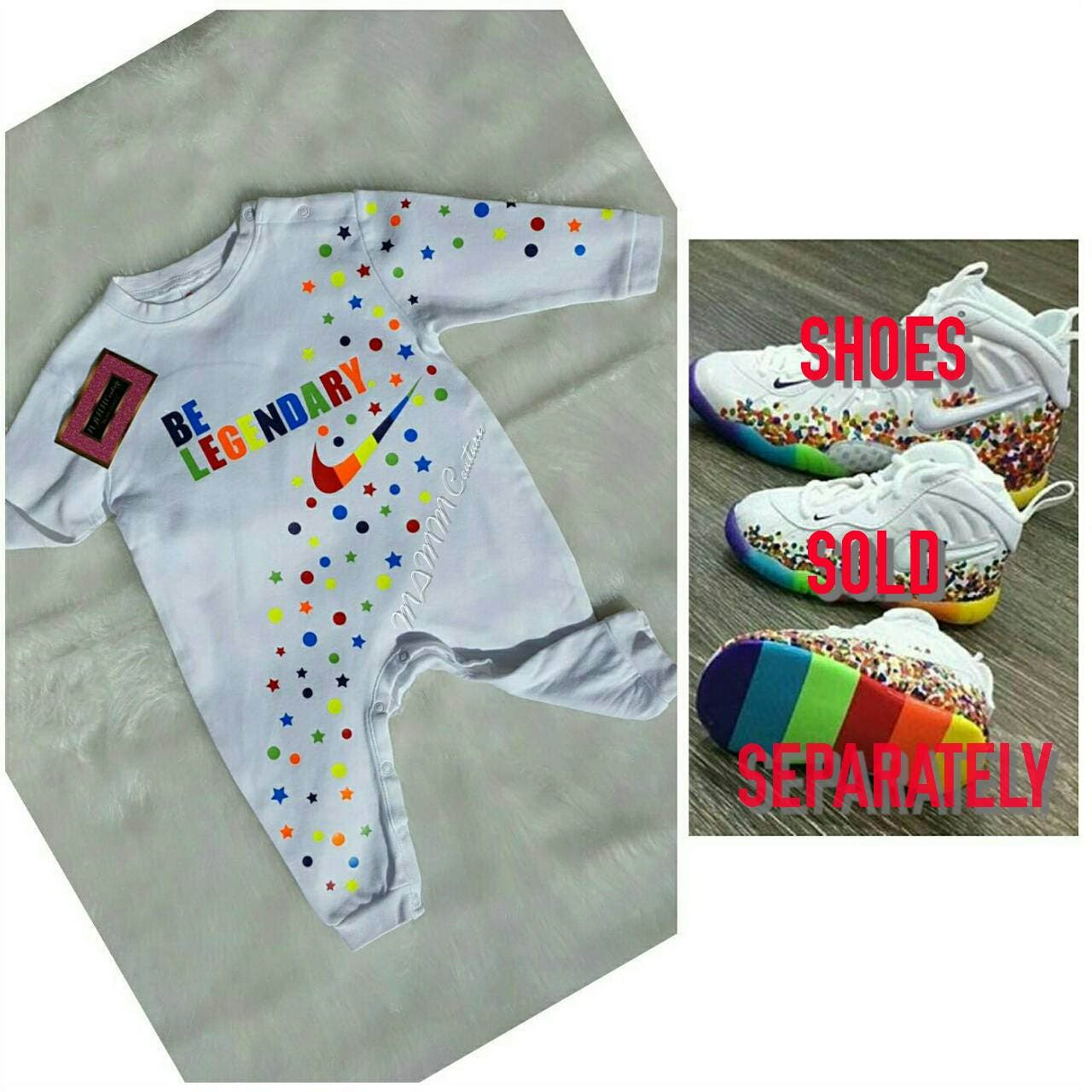"e6b8552b9a229 ... ""Fruity Pebble"" Foamposites For Your Kids Tomorrow  Baby romper"