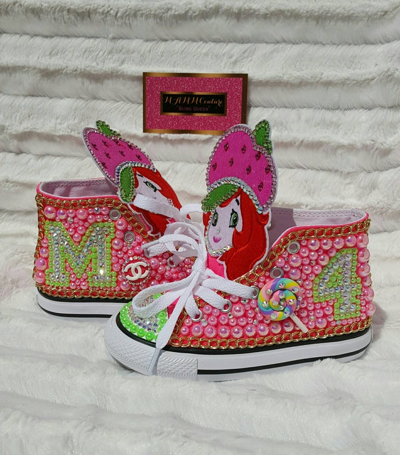 38d563eca6f9 First birthday shoes Swarovski Converse strawberry shortcake