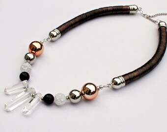 Quartz/sunstone/gemstones/crystal jewelry/velour leather/statement rope necklace/bib necklace/handmade/minimalist/leather jewelry/for her