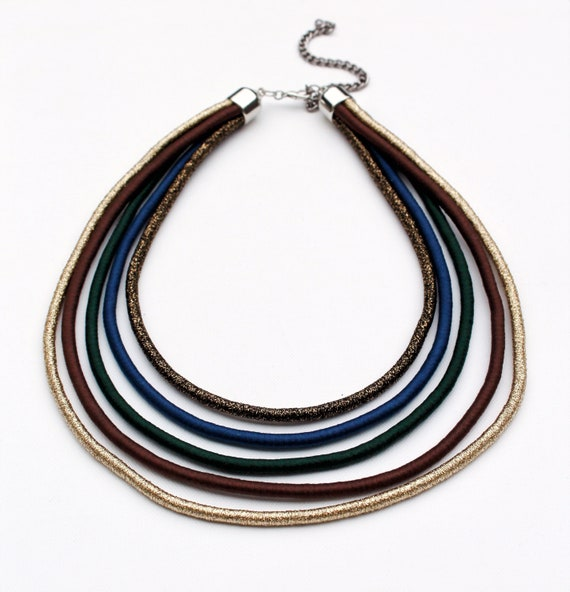 Statement Rope Necklacechunky Layered Necklacecolorful Necklacemultistrand Ethnic Necklacebluegreengoldcoppergift Ideasfor Her