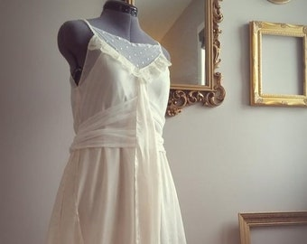 cc1c64cfc9ee3 SPRING SALE Vintage inspired 1930's style silk and vintage lace wedding  dress, ivory boho wedding dress