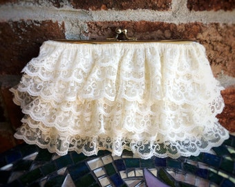 Shabby chic frilly ivory lace clutch purse, upcycled vintage boho purse