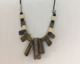 Hand crafted wood and stone necklace