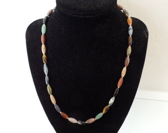 """18 """"Necklace made from semi-precious stones and sterling silver."""