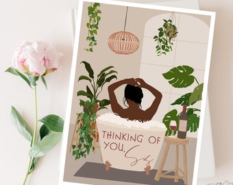 Thinking Of You Sis, Greeting Card, Thinking Of You Card, Self Care, Abstract, African American Queen, Afro